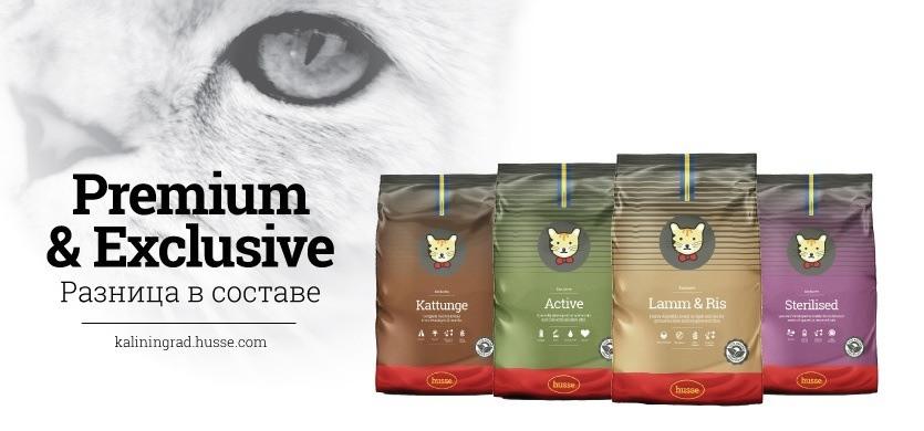Husse корм кошек - Премиум и Эксклюзив - высококачественный корм лучшие ингридиенты для ваших любимцев